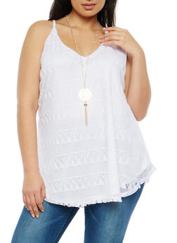 Plus Size Crochet Tunic Tank Top with Necklace - 1910058752003