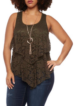 Plus Size Lace Front Tank Top with Necklace - 1910058756078