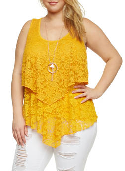 Plus Size Lace Front Tank Top with Necklace - MUSTARD - 1910058756078