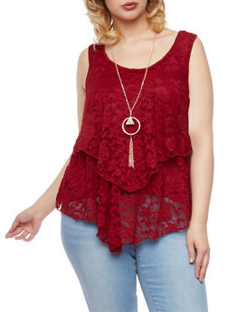 Plus Size Lace Front Tank Top with Necklace - BURGUNDY - 1910058756078