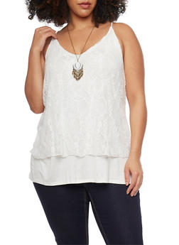 Plus Size Lined Lace Tank Top with Necklace - 1910058756273