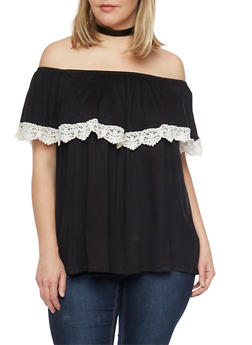 Plus Size Off the Shoulder Top with Crochet Trimmed Ruffle - BLACK - 1910058756608