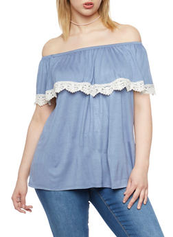 Plus Size Off the Shoulder Top with Crochet Trimmed Ruffle - 1910058756608