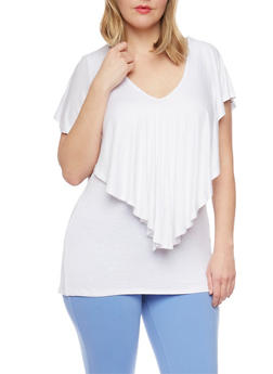 Plus Size Flutter Overlay Cross Caged Back Top - 1910058756717