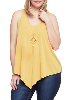 Plus Size Sleeveless V Neck Top with Necklace - 1910058757773