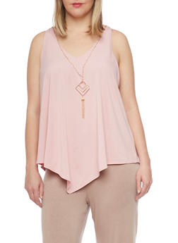 Plus Size Sleeveless V Neck Top with Necklace - BLUSH - 1910058757773