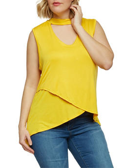 Plus Size Sleeveless Keyhole Choker Top with Tulip Hem - MUSTARD - 1910058758079