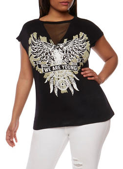 Plus Size We are Young Graphic Top - 1910058758635