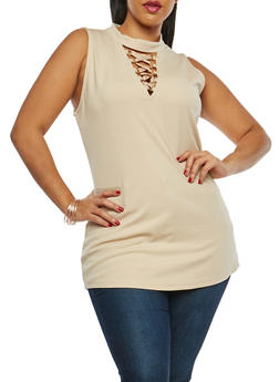 Plus Size Caged Neck Tunic Top - 1910058759091