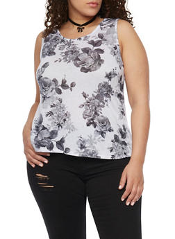 Plus Size Floral Tank Top with Choker - 1910058930001