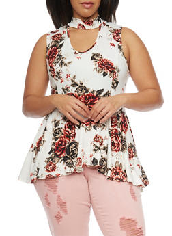 Plus Size Sleeveless Floral High Low Peplum Top - 1910058930712