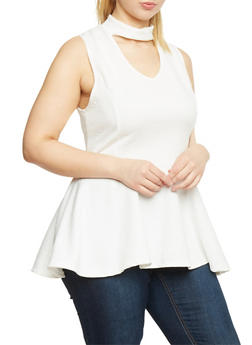 Plus Size Sleeveless Mockneck Peplum Top with Keyhole - WHITE - 1910058930718