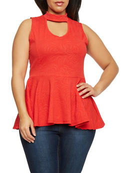 Plus Size Sleeveless Peplum Top with Keyhole Neckline - 1910058930719