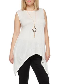 Plus Size Sharkbite Hem Top with Necklace - WHITE - 1910058930931