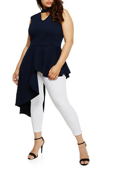 Plus Size Sleeveless Asymmetrical Peplum Top - 1910058934960