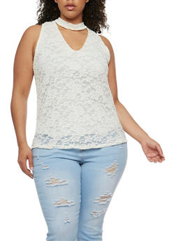 Plus Size Lace Tank Top with Choker V Neck - WHITE - 1910058935160