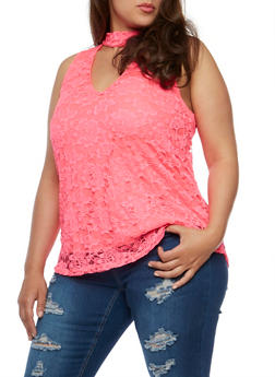 Plus Size Lace Tank Top with Choker V Neck - 1910058935160