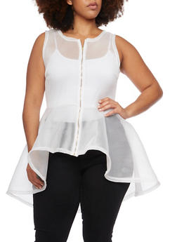 Plus Size Mesh High Low Peplum Top - 1910058936710