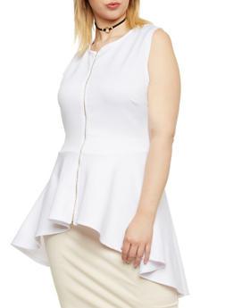Plus Size Sleeveless Peplum Top - WHITE - 1910058937110