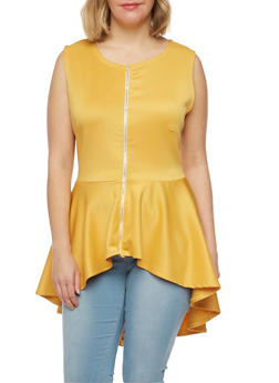 Plus Size Sleeveless Peplum Top - MUSTARD - 1910058937110