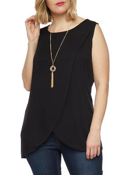 Plus Size Sleeveless Tulip Hem Top with Necklace - 1910058937517