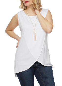 Plus Size Sleeveless Tulip Hem Top with Necklace - WHITE - 1910058937517