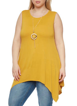 Plus Size Solid Asymmetrical Top with Necklace - MUSTARD - 1910058937518