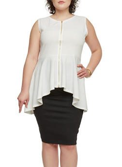 Plus Size High Low Peplum Top with Zip Up Closure - WHITE - 1910058937519
