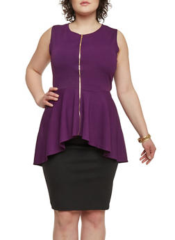 Plus Size High Low Peplum Top with Zip Up Closure - PLUM - 1910058937519