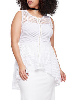 Plus Size Sleeveless Mesh High Low Top - WHITE - 1910058937520