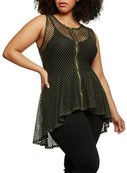 Plus Size Sleeveless Mesh High Low Top - 1910058937520