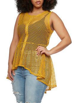 Plus Size Sleeveless Mesh High Low Top - MUSTARD - 1910058937520