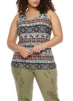 Plus Size Printed Brush Knit Tank Top - 1910060582082