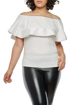 Plus Size Scuba Off the Shoulder Top with Satin Trim - 1910062706548