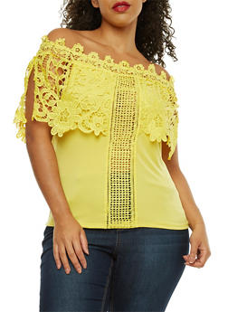 Plus Size Off the Shoulder Top with Crochet Detail - 1910062706556