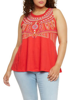 Plus Size Sleeveless Tribal Graphic Top - 1910062906431