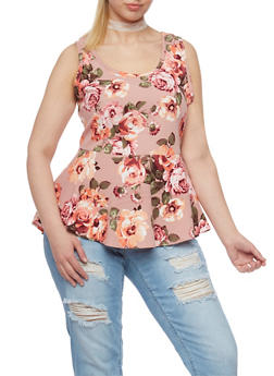 Plus Size Floral Print Peplum Top with Choker - 1910072240452