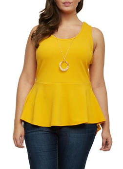 Plus Size Sleeveless Peplum Top with Necklace - MUSTARD - 1910072240542