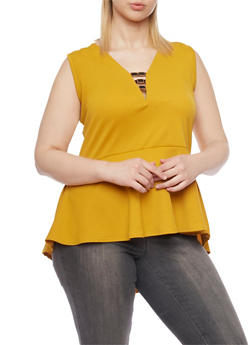 Plus Size Sleeveless Peplum Top with Metal Trim - MUSTARD - 1910072245926