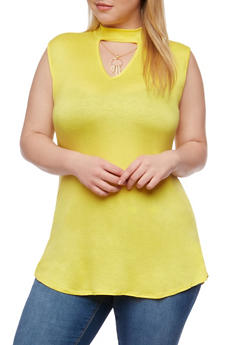 Plus Size V Neck Choker Tunic Top with Necklace - 1910072246185
