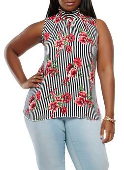 Plus Size Soft Knit Striped Floral Top - 1910072246203