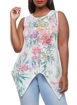 Plus Size Floral Knit Top - 1910074280577