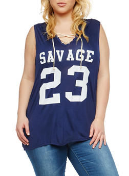 Plus Size Savage Graphic Hooded Top - 1910074281688
