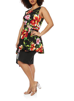 Plus Size Textured Knit Floral Asymmetrical Top - 1910074284090