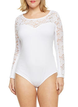 Plus Size Bodysuit with Lace Panels - WHITE - 1911054260214