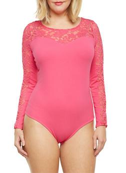 Plus Size Bodysuit with Lace Panels - ROSE - 1911054260214