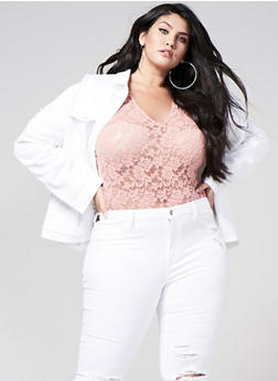 Plus Size Lace Bodysuit - 1911054265872