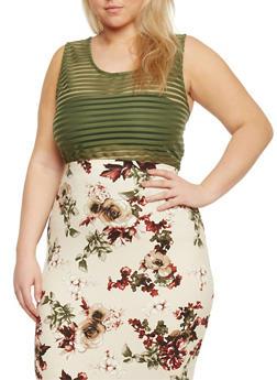 Plus Size Sleeveless Shadow Stripe Bodysuit - OLIVE - 1911058755749