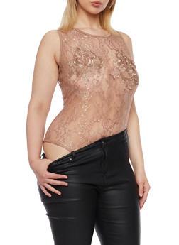 Plus Size Lace Bodysuit with Back Keyhole Cutout - MOCHA - 1911058930126