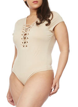 Plus Size Lace Up Bodysuit - TAN - 1911062706436